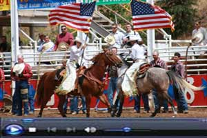 Mother Lode Round-Up Rodeo Queens passing in Opening ceremony Click to See Video